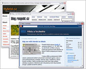 Náhled na weby Hybrid.cz, blog Jana Koláře na respekt.cz a blog Věda a technika